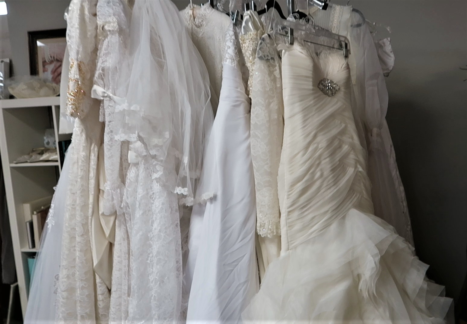 White wedding dresses at the thrift store. My first store stop was terrific; I walked right in and found a few vintage wedding dresses.
