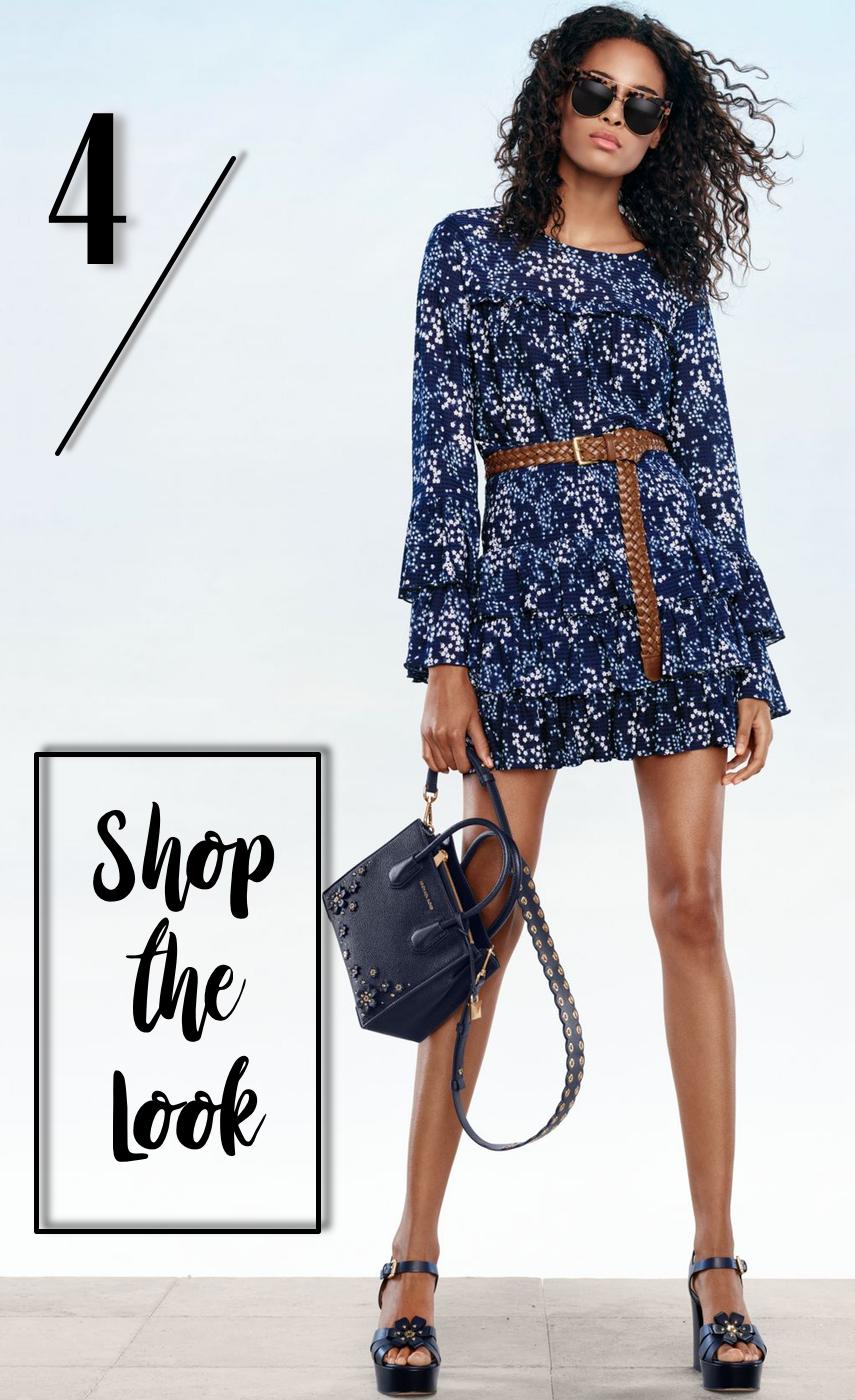 MICHAEL MICHAEL KORS Floral Top, Floral Skirt, Milan Sunglasses, Mercer Crossbody, Tara Platform Sandal