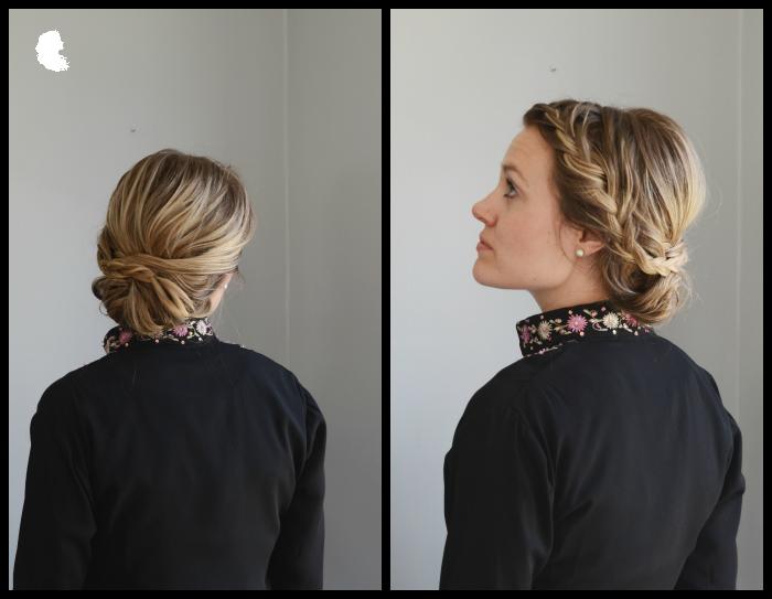 chignon updo on medium length hair