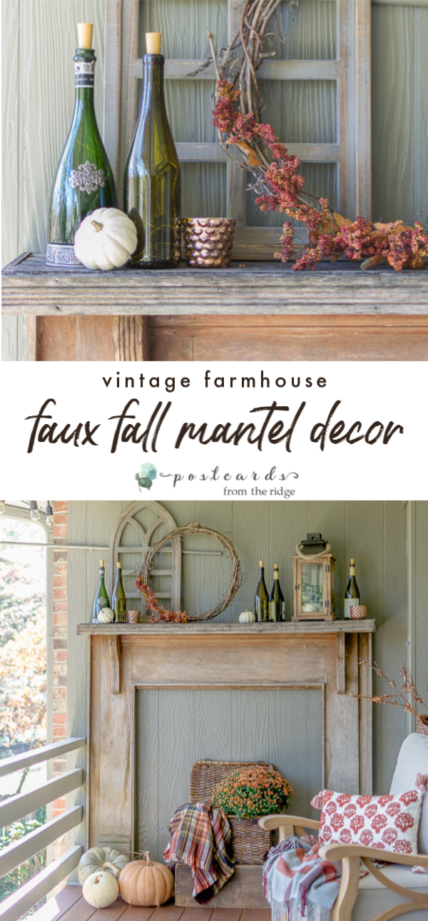 rustic vintage fall mantel decor