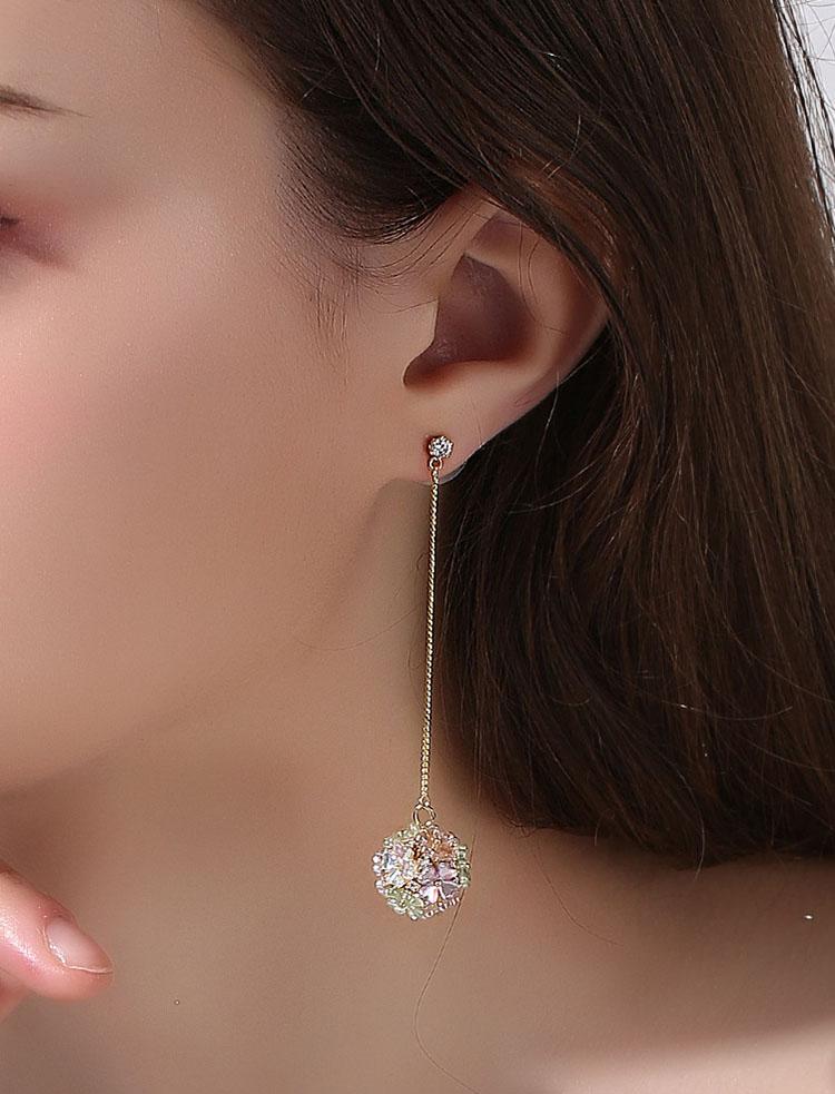 甜美閃亮小花球耳環