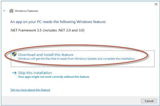 Hình 5 - Cài đặt .Net Framework bị thiếu
