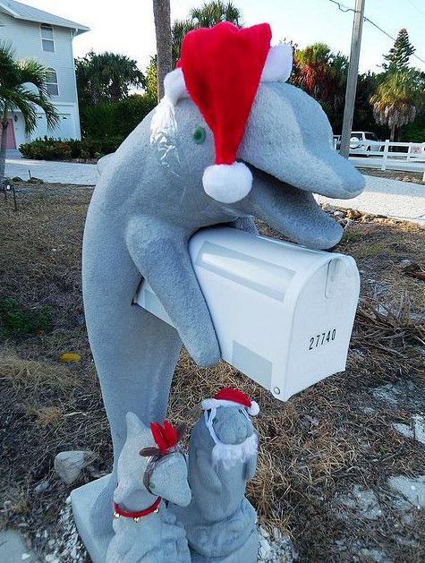 Christmas Santa Dolphin Mailbox