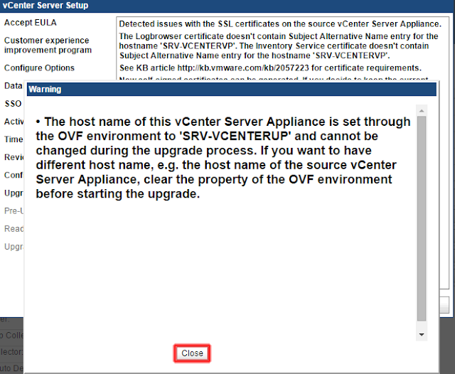 The host name of this vCenter Server Appliance is set throught the OVF environment to 'NOMBRE_DEL_SERVIDOR' and cannot be changed during the upgrade process. If you want to have diferent host name, e.g. the host name of the source vCenter Server Appliance, clear the property of the OVF environment before starting the upgrade.