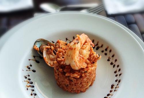 tomato seafood risotto
