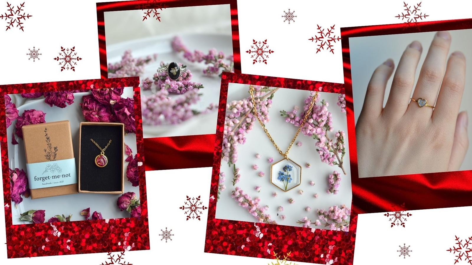 pomysł na prezent gwiazdkowy biżuteria z żywicy i roślink kwiatów handmade rękodzieło nietypowe prezenty dla kobiety siostry mamy dziewczyny żony babci