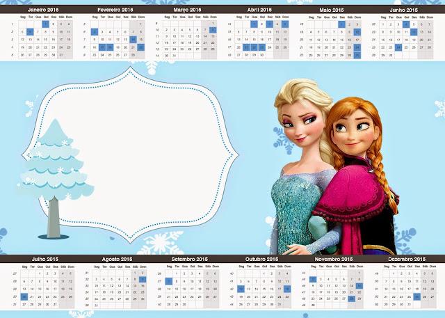 Calendario 2015 para imprimir gratis de Frozen en Navidad Azul.