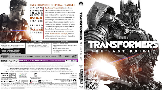 Transformers: The Last Knight 4K Bluray Cover