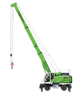 side view of sennebogen 624 with it's foldable boom extended.