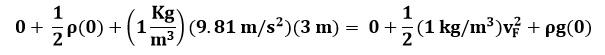 Sustituyendo valores en la ecuación de Bernoulli entre los puntos A y F del ejemplo 2