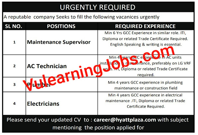 Urgently Required Jobs In Qatar 2020 For Supervisor, Technician, Plumber, Electrician Latest