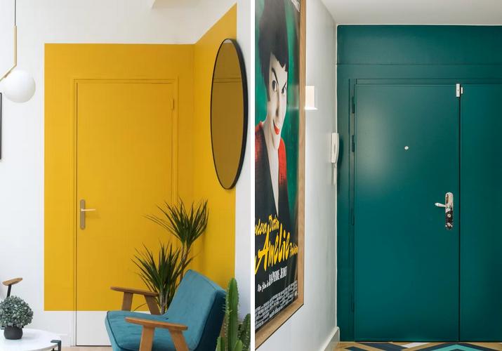 porta e parede colorida