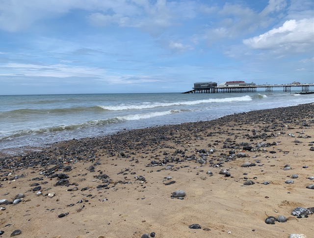 Cromer beach with the pier in the background
