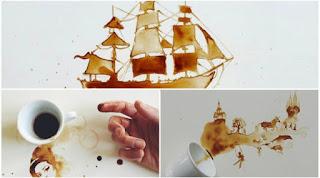 Sebuah Maha Karya Seni Unik yang Tercipta dari Tumpahan Kopi Sangat Menakjubkan.