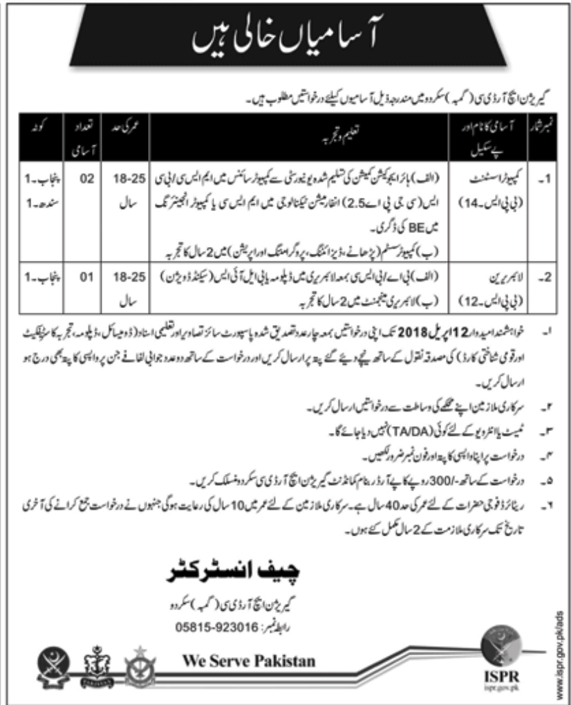 Jobs In Pak Army Garrison HRDC Skardu March 2018 for Computer Assistant and others