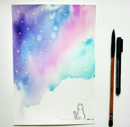 I Disegni Di Verdemela Gatto Che Guarda Il Cielo Stellato