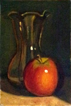 Oil painting of a Pink Lady apple beside at tulip-shaped glass vase.