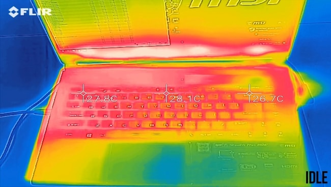 At idle, the keyboard and palm temperature was measured using the temperature gun. Both were found cool with slightly hotter on the right side of keyboard,
