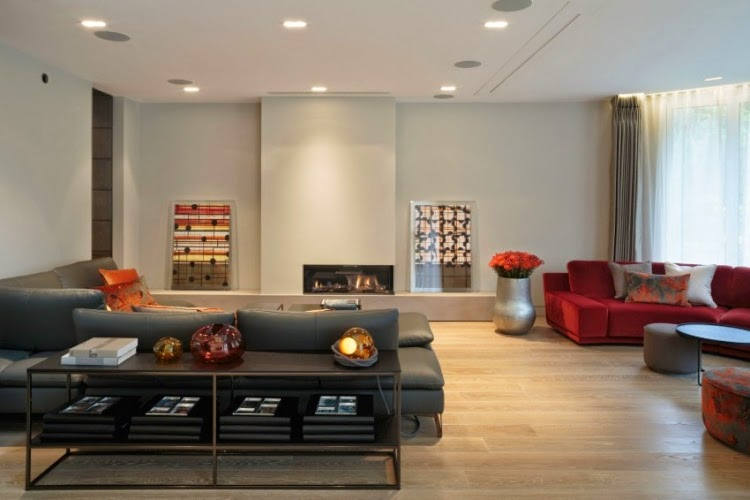 Sala moderna con chimenea   colores en casa