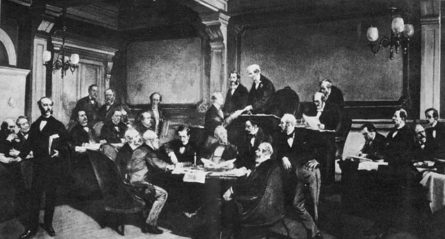 The signing of the first-ever Geneva Convention by some of the major European powers in 1864
