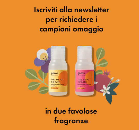 "2 campioni gratis bagnoschiuma Goovi ""Take me to the bath"""