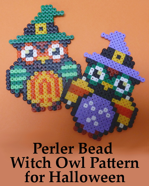 Perler Hama Bead Witch Owl Pattern for Halloween