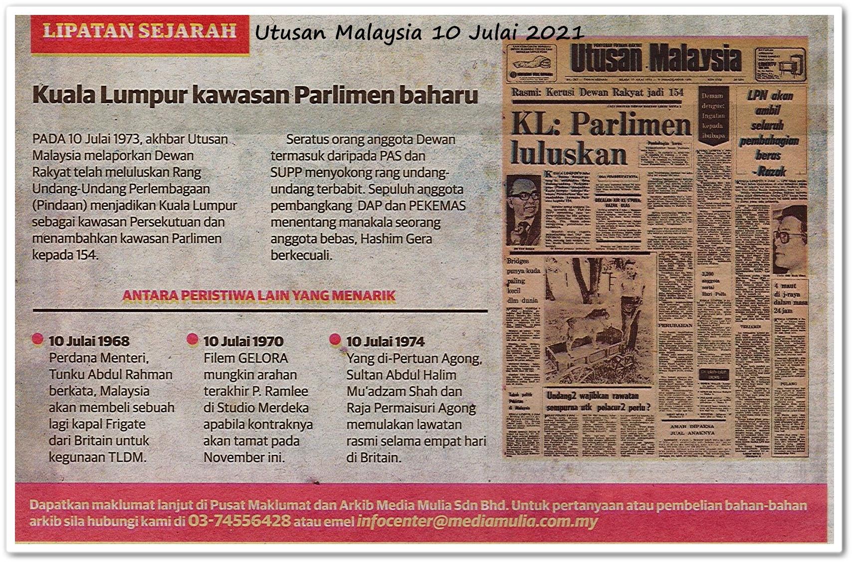 Lipatan sejarah 10 Julai - Keratan akhbar Utusan Malaysia 10 Julai 2021
