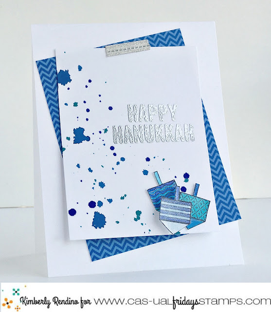 hanukkah   cardmaking   handmade card   holiday   dreidel   papercraft   clear stamps   cas-ual fridays stamps   kimpletekreativity.blogspot.com