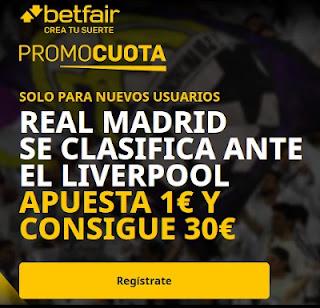 betfair promocuota Real Madrid se clasifica ante Liverpool 14-4-2021