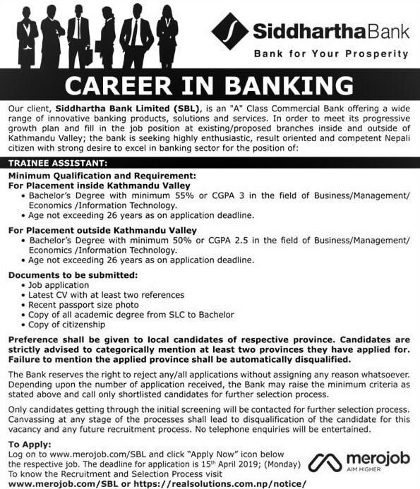 Siddhartha Bank Limited Vacancy Notice for Trainee Assistant.