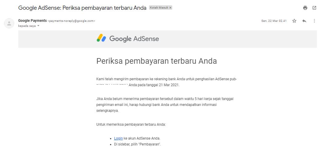 Menerima pembayaran dari Google Adsense