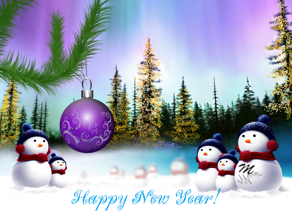 snow man greeting c ard. 1024 x 768.Happy New Year E-cards Free