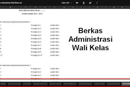 Berkas Administrasi Wali Kelas yang wajib dimiliki Format Excel