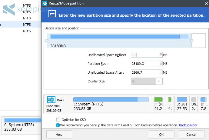 bikin partisi baru dengan easeus partition master