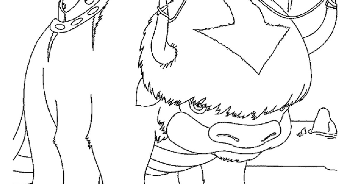 Appa And Momo Avatar Coloring Pages Dexa Byte Free