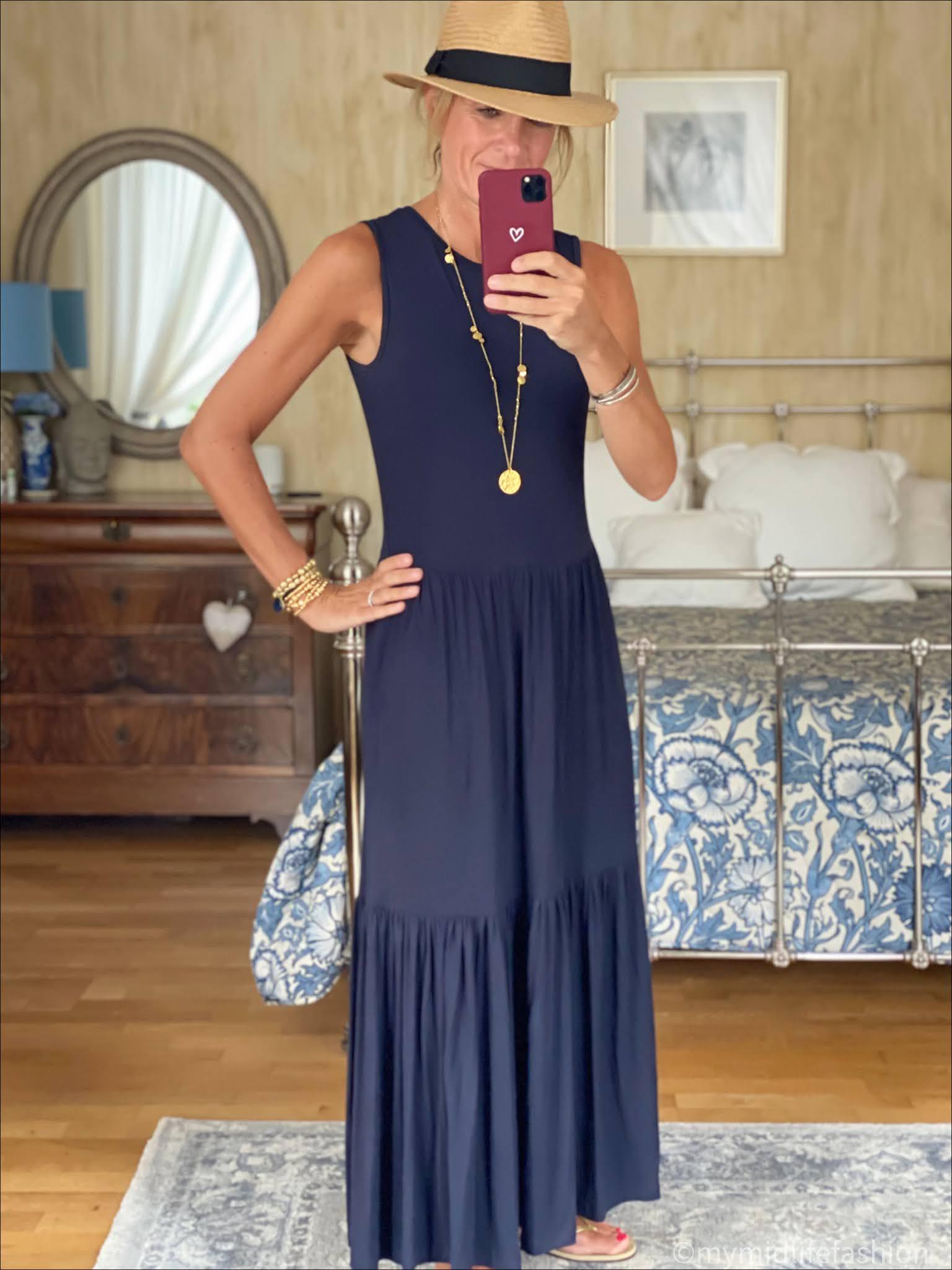 my midlife fashion, saint and Sofia greenwich dress, h and m straw Panama hat, havaianas slim fit metallic gold flip flops