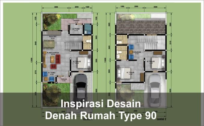 inspirasi denah rumah type 90