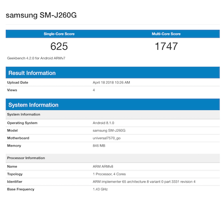 Samsung J2 Core might be the first Android Go smartphone by Samsung; Samsung SM-J260G lists on Geekbench