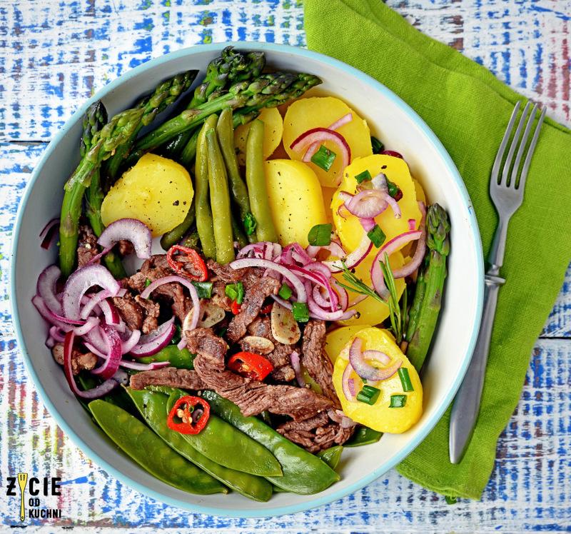 szparagi, oliwa vero, oliwa wvero rozmarynowa, wolowina, salatka ze szparagami, salatka z wolowina, groszek cukrowy, dania sezonowe maj, zycie od kuchni