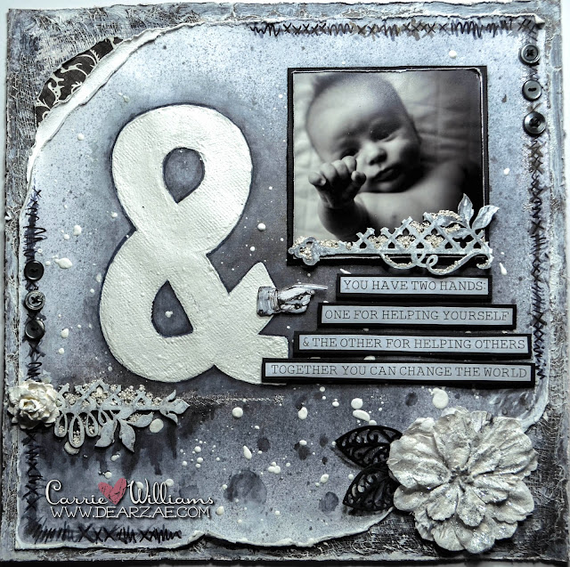 Black and white mixed media scrapbook layout with prima, wild orchid flowers, buttons, distressing, mixed media, cheesecloth, prills and die cuts.