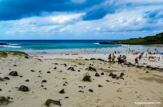 Praia de Anakena, a mais famosa da Ilha de Páscoa