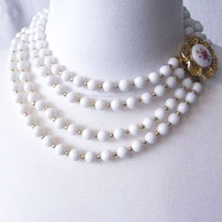 Milk Glass vintage necklace with ornate clasp.