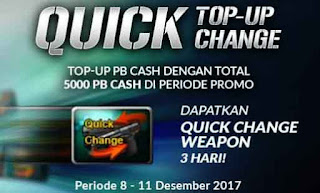 Cara Isi Cash PB Garena agar Dapat Quick Change (QC) Weapon Gratis