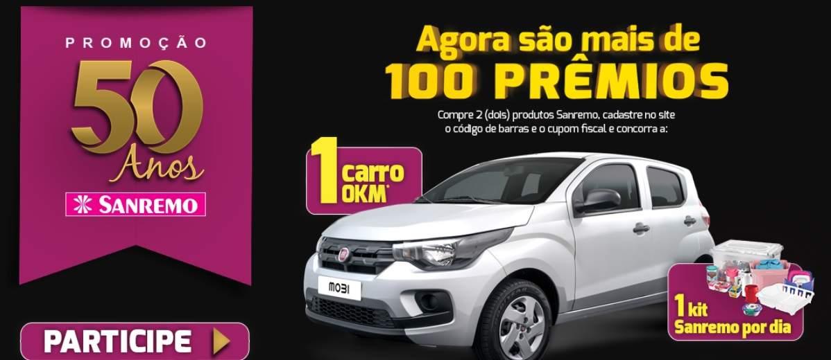 Promoção Sanremo Aniversário 50 Anos 100 Prêmios - Automóvel Zero e Kits