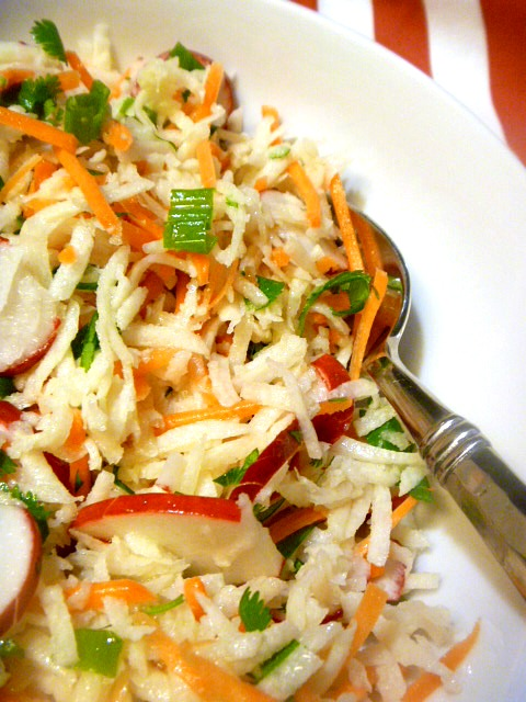 Jicama Radish Slaw is a wonderful side dish that it easy to take along to a party, or quick enough to throw together for a backyard cookout - Slice of Southern