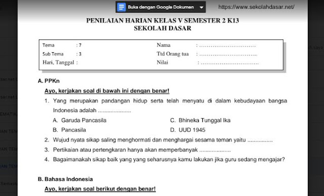 File Pendidikan Soal Penilaian Harian Kelas 5 Tema 7 Subtema 1, 2, dan 3