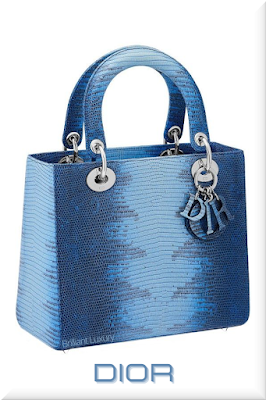 ♦Dior Lady Dior blue lizzard skin top handle bag with coloured Dior charms #dior #bags #ladydior #brilliantluxury