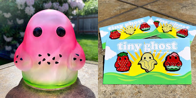 San Diego Comic-Con 2019 Exclusive Spittin' Contest Tiny Ghost Vinyl Figure & Fruit Pin Set by Reis O'Brien x Bimtoy x Fugitive Toys