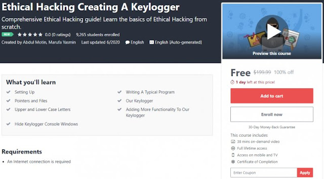 [100% Off] Ethical Hacking Creating A Keylogger| Worth 199,99$