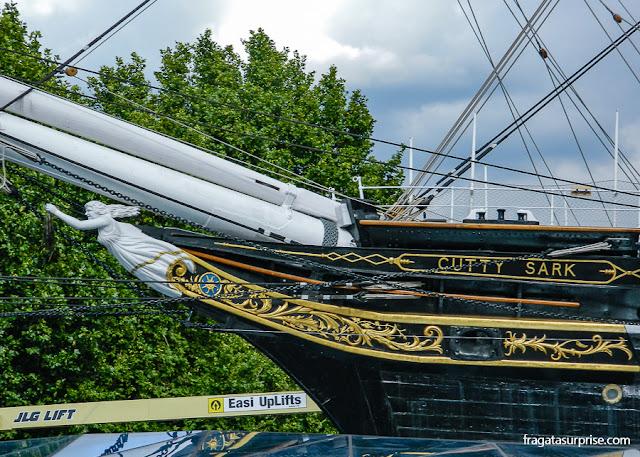 Veleiro histórico Cutty Sark, em Greenwich, Londres